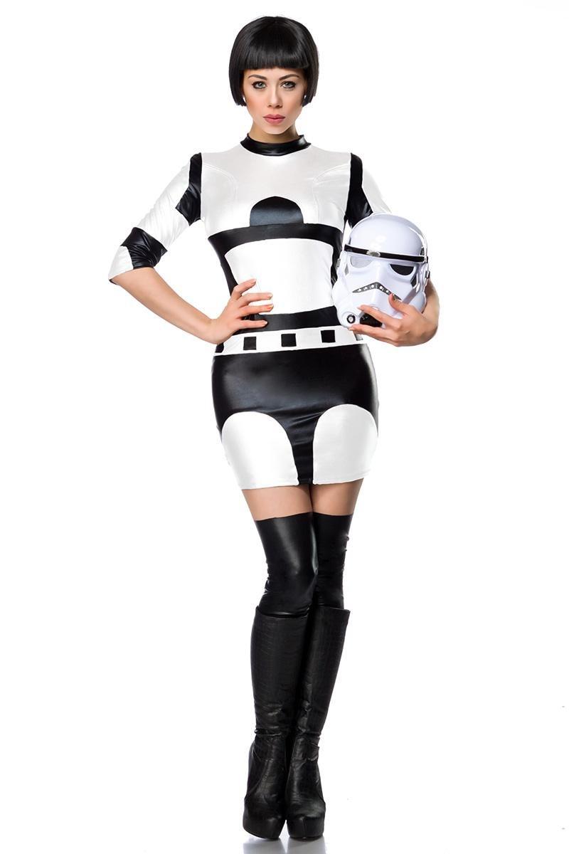 Mask Paradise Sexy Sci-Fi Damenkostüm Space Kriegerin Weiss-schwarz XL