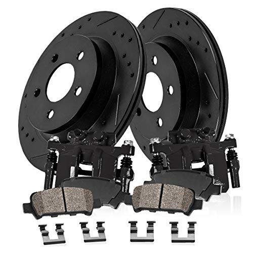 CCK02728 REAR Powder Coated Black [2] Calipers + [2] Black Powder Coated Rotors + [4] Ceramic Brake Pads