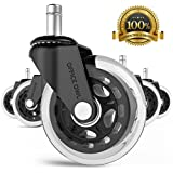 """Office Owl Office Chair Wheels for Smart Home Offices, Set of 5 HEAVY DUTY 3"""" Replacement Rubber Office Chair Casters, Cool Rollerblade Style Casters For Hardwood, NO NEED FOR CHAIR MATS!"""
