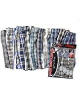 Men's 12-pack Plaid Woven Boxer Shorts with Front Button
