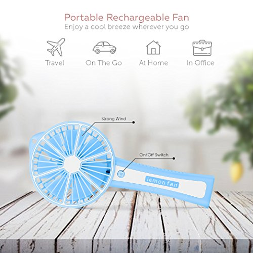 Function Labs Personal Mini USB Handheld Cooling Fan - Rechargeable, Compact and Portable, Quiet Fan Speed - Perfect Home, Camping, Kids, Gifts (Lemon Blue) by Function Labs (Image #1)
