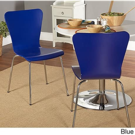 Simple Living Pisa Bentwood Stackable Dining Kitchen Chairs Set Of 2 Blue