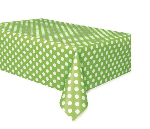 Lime Green Polka Dot Plastic Tablecloth, 108