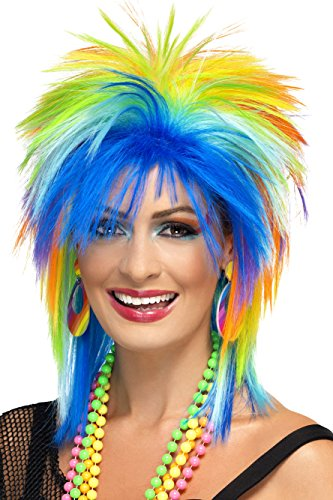Smiffy's Women's 80's Rainbow Punk Wig, Multi-Coloured, One Size, 41406 (Halloween Costumes With Colored Wigs)