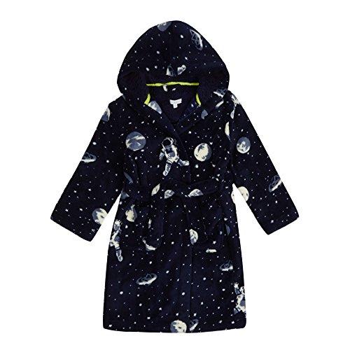 Minikidz Boys Plush Fleece Space Dressing Gown with Hood
