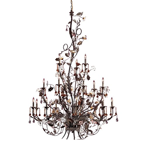 Alumbrada Collection Cristallo Fiore 18 Light Chandelier In Deep Rust With Crystal Florets (Cristallo Fiore 18 Light)