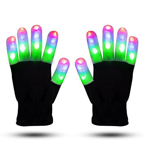 LED Gloves Finger Lights Glowing Rave Gloves Flashing Gloves 6 Modes Halloween Costume Christmas Dance Dubstep Party Birthday