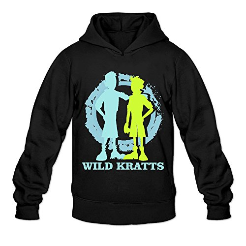 [AK79 Men's Hooded Sweatshirt Wild Kratts Size XXL Black] (Aviva Wild Kratts Costume)