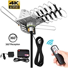 HDTV Antenna-MATIS Amplified Digital TV Antenna 150 Miles Range Attic HD Antenna Long Range With 360° Rotation -Wireless Remote for FM/VHF/UHF Channels(Without Pole)