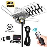 digital antenna 150 mile range - TV Antenna -Outdoor Amplified HDTV Antenna 150 Mile Range Motorized 360 Degree Rotation,Pacoso Digital TV Antenna for 2 TVs Support - UHF/VHF/FM Signal Wireless Remote Control - 33FT Coax Cable