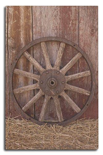 (Lantern Press Wagon Wheel (10x15 Wood Wall Sign, Wall Decor Ready to Hang))