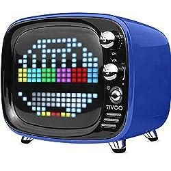 Putars Bluetooth Speaker Smart Speaker Retro Style Pixel Wireless Mini Alarm Clock 360 Degrees Speaker Smart Clock Chargeable Compact Exquisite Notification Voice Memo Daily Reminder