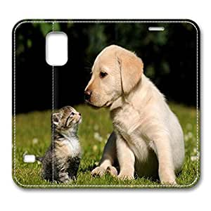 Brian114 Samsung Galaxy S5 Case, S5 Case - Protective Leather Case for Galaxy S5 Kitty With Dog Unique Designs Samsung Galaxy S5 Leather Case