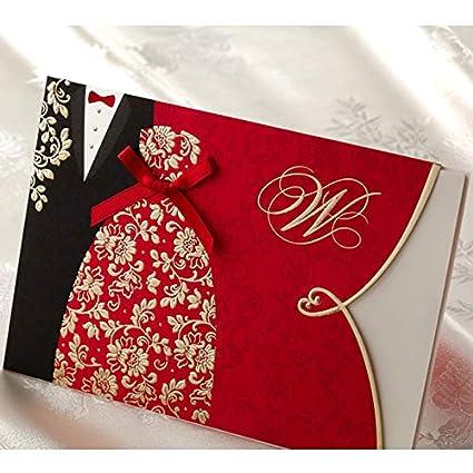 Amazon Com 10pcs Red Wedding Invitations With Envelopes Wedding