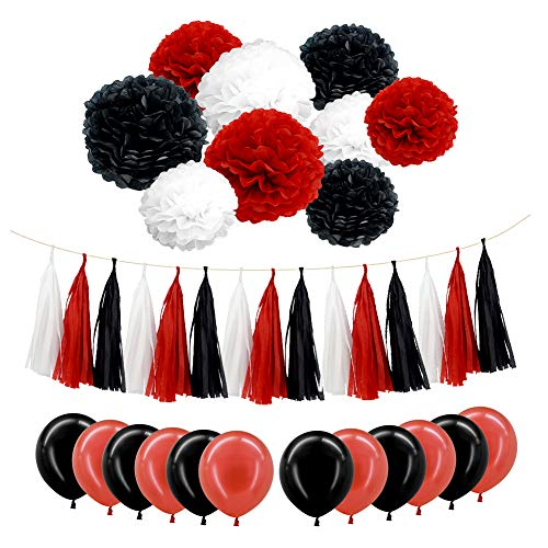 Red Black Party Decorations Kit - Tissue Paper Pom Poms, Tissue Paper Tassel, Balloons Party Supplies for Birthday, Baby Shower, Bachelorette Party, Festivals, Carnivals, Graduation