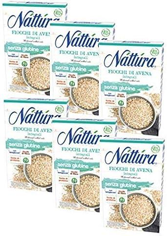 Nattura Copos de Granos Enteros Sin Gluten Rico en Fibra Con Betaglucanos Fuente de Proteína Vegana OK - (6 x 350 gramos)