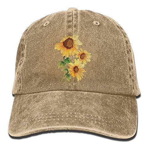 - SCGOLD Sunflower Denim Baseball Caps Hat Adjustable Cotton Sport Strap Cap for Men Women Natural-One Size
