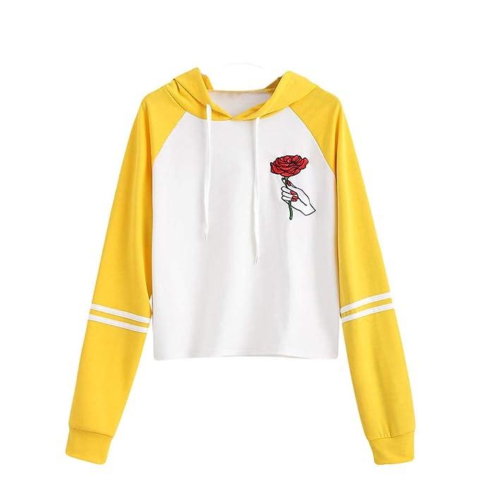 Damark 2018 Otoño Impresión Mujer Sudadera, Sudaderas Sin Capucha Cortas para Mujer Bordado de Patchwork Camisetas Mujer Blusa Tops Sudadera Mujer: ...
