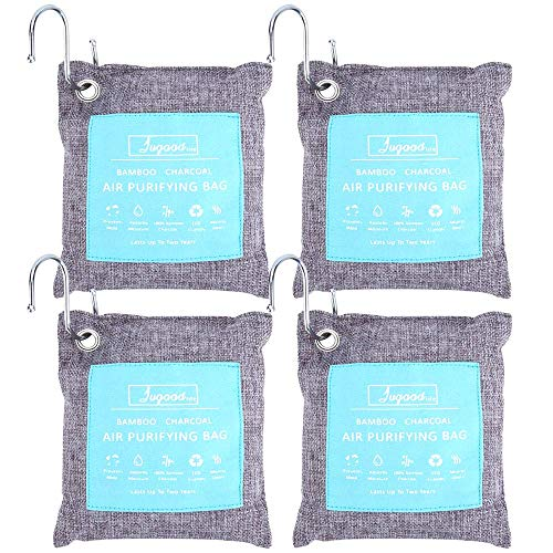 (Jugaad Life Bamboo Charcoal Air Purifying Bag with Hanging Hooks(4 Pack), 200g Air Freshener Bags, Eco Friendly Odor Eliminators for Home, Shoes, Car, Closet)