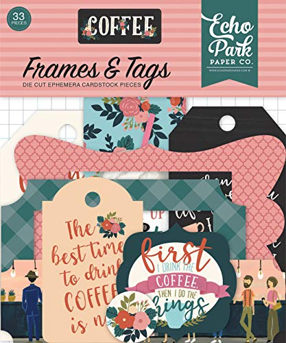 Echo Park Paper Company CO164025 Coffee Frames & Tags Ephemera, Pink/Green/Red/Navy/Blue/Teal/Black