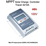 MPPT Solar Charge Controller Tracer A + Remote Meter MT-50 + Temperature.Sensor With LCD Display for Solar Battery Charging (MPPT40A+MT50+RTS)