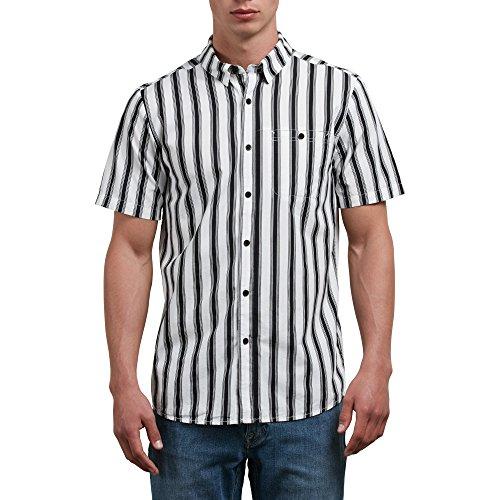 Volcom Men's Sunland Short Sleeve Button up Shirt, White, - Com Sunland