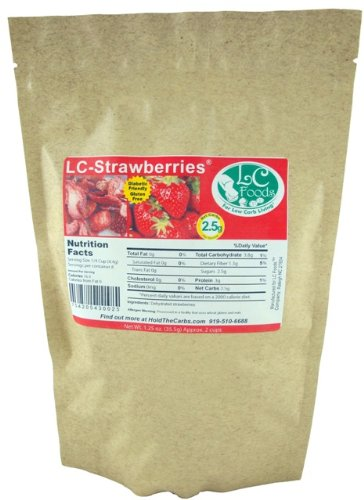 Low Carb Freeze Dried Strawberries (Unsweetened) - LC Foods - All Natural - Paleo - Gluten Free - No Sugar Added - Diabetic Friendly - 1.25 oz