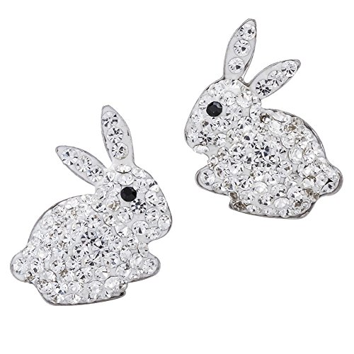 YACQ 925 Sterling Silver Crystal Bunny Stud Earrings