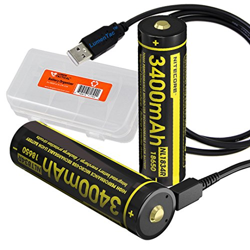 Two Pack: Nitecore NL1834R 3400mAh High-Capacity 18650 Batteries with Built-in USB Charging Port (2X) & LumenTac Battery Organizer and USB Cord