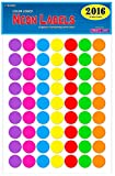 Pack of 2016 1-inch Diameter Round Color Coding Dot Labels, 7 Bright Neon Colors, 8 1/2'' x 11'' Sheet, Fits All Laser/Inkjet Printers, 63 Labels per Sheet, 1''