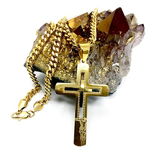- Hollywood Jewelry 18K Gold Chain Cross Pendant Necklace for Men, Women w/Real Strong Solid Clasp Miami Cuban Link Style