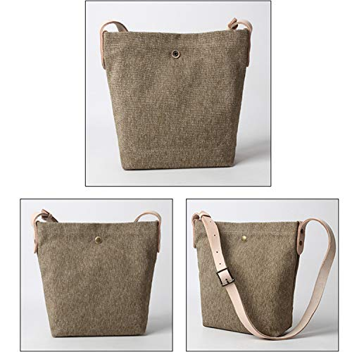 YNNB Fritid Canvas Damväska, Fashion Ladies Shoulder Bag Adjustable Crossbody Bag Wild Shopping Bag för skolarbete resor och dagligen, kaki kaki