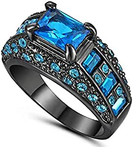 Men's Ring with Black Gold Plated in Blue Sapphire gemstone Size US 9