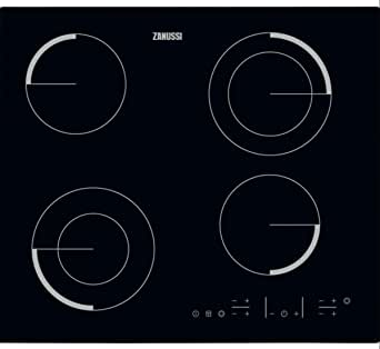 Zanussi 60 cm Built-In Electric Ceramic Hob, 4 Burners, Black- ZEV6642FBV - 1 Year Warranty
