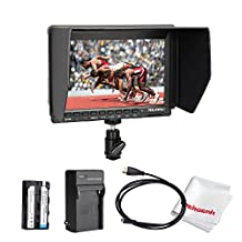 Feelworld FW74K 7 Inch Ultra HD 1280x800 IPS Screen Camera Field Monitor Supports 4K UHD 3840*2160p(29.97/25/23.98) for Panasonic GH4 SONYA7S SONYFS7, comes with Battery Kit