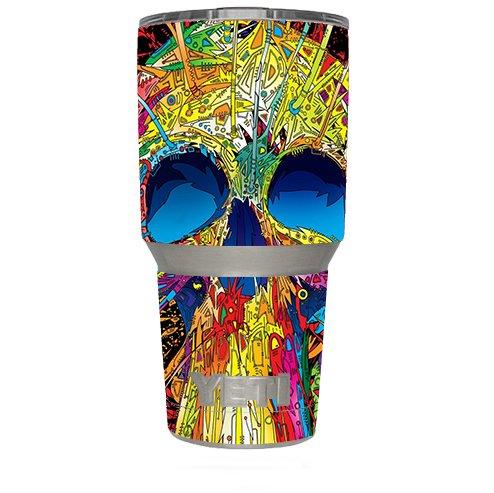 Skin Decal Vinyl Wrap (6-piece kit) for Yeti 30 oz Rambler Tumbler Cup / colorful skull 1