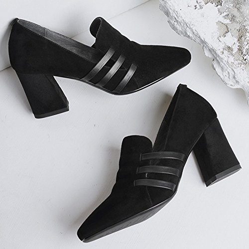 SED Punta Fina con Tacones Altos Zapatos de Trabajo de Charol de Cuero de Primavera Y Otoño Femeninos Zapatos de Suela de Color Negro Sex Negro