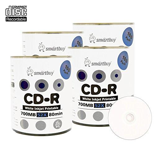 Smart Buy CD-R 400 Pack 700mb 52x Printable White Inkjet Blank Recordable Discs, 400 Disc, 400pk by Smart Buy