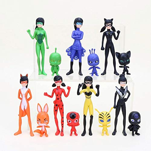 PAPRING Set 14 Miraculous Toys 2 - 4 inch Hot PVC Action Figure Ladybug Cat Noir Tikki Plagg Small Figures Hot Model Mini Gift Christmas Halloween Birthday Gifts Cute Doll Animal Collectible for Kids