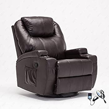 Nice RECLINER GENIUS Leather Recliner Chair Heated Massage 360 Degree Swivel  Living Room Chair , Brown