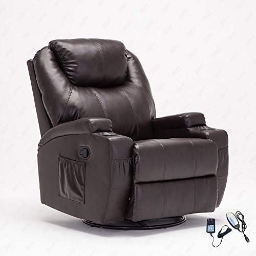 360 Degree Swivel Leather Massage Recliner Chair Living Room Chair Heated with Control Brown