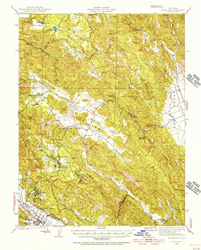 YellowMaps St Helena CA topo map, 1:62500 Scale, 15 X 15 Minute, Historical, 1942, Updated 1966, 20.7 x 16.6 in - Tyvek