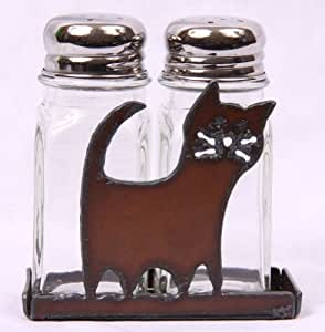 Rustic Metal Comical Cat Salt and Pepper Shaker