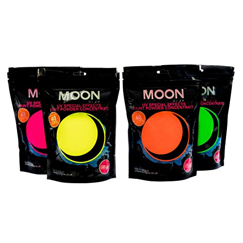 Moon Glow - 400g UV Paint Powder Set of 4 - Neon Special Effects Paint Party Powder Concentrate - Makes up to 160 Litres! by Moon Glow by Moon Glow