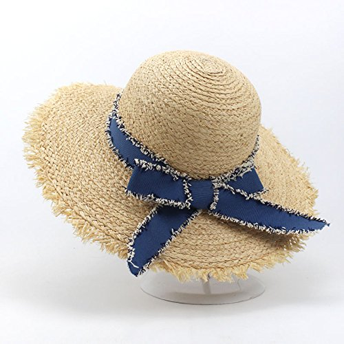Aabigale beautiful Summer Sun Hats for Women Natural Raffia Straw Hat Ladies Elegant Bow-Knot Beach Caps Sombreros Mujer Verano chapeau wedding hat ()