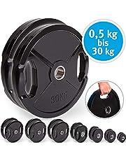 C.P. Sports Olympiascheiben - Par de discos de pesas de goma, 50/51 mm de diámetro, 1 par de discos de 0,5 kg - 30 kg, discos de contorno, pesas para pesas con agujeros de agarre, 2.5 Kg