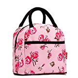 Colorful Style Polyester Lunch Bag Lunch Box Package Resable Shop Tote Bag Purse for Women Girls - Pink Flower