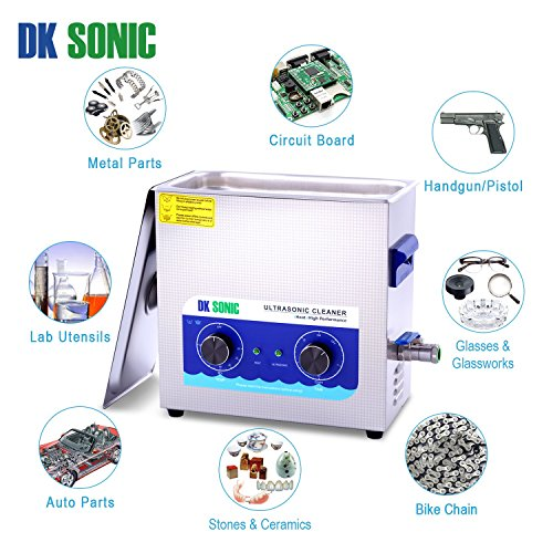 Large Ultrasonic Gun Cleaner Heated - DK SONIC 6L 180W Ultrasonic Parts Cleaner with Heater Basket for Retainer Jewelry Carburetor Eyeglass Ring Fuel Injector Glasses Record Circuit Board 40KHz by DK SONIC (Image #5)