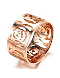 Mintik Women 10MM Wide Rose Gold Flower Band Stainless Steel Ladies Girls Rose Gold Hollowed Vintage Camellia Ring