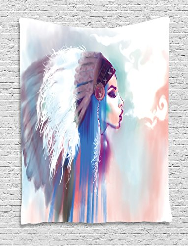 - Ambesonne Tribal Tapestry, Girl Smoking Pipe with Traditional Clothes Abstract Watercolor Background, Wall Hanging for Bedroom Living Room Dorm Decor, 40